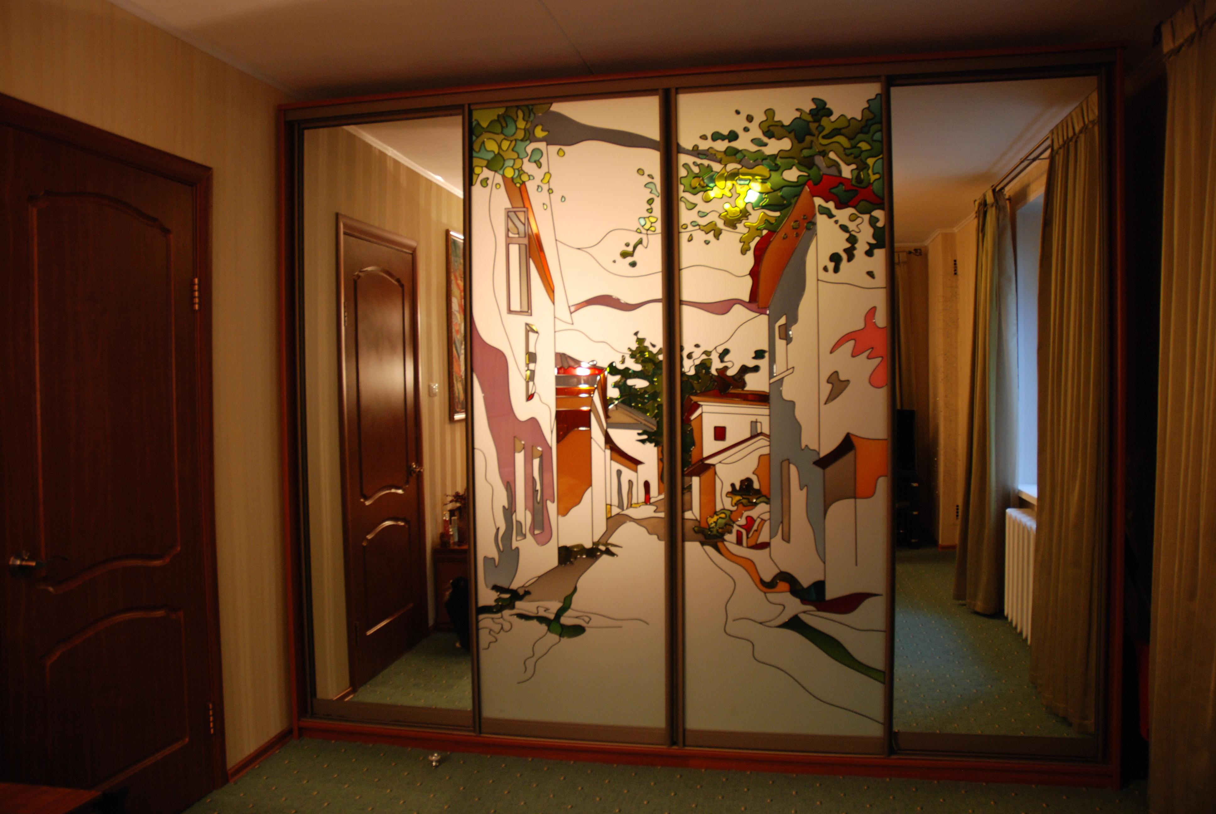 Шкафы-купе с витражами / меркурий мебель г. хабаровск, изгот.